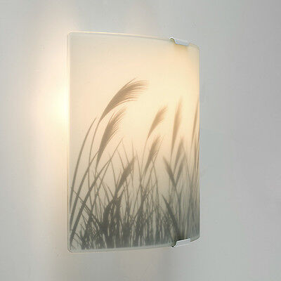 White Frosted Curved Glass Meadow Pattern Flush Wall Sconce Light Fitting Lights