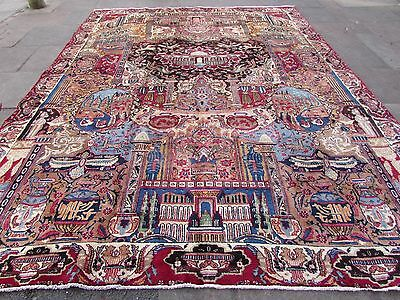 Old Traditional Hand Made Persian Rug Oriental Red Wool Large Carpet 375x285cm
