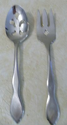 1881 Rogers Oneida Stainless Satin Style Aka Twilight Meat Fork & Pierced Spoon