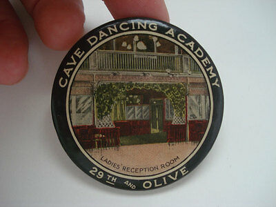Adv Celluloid Pocket Mirror ~ Cave Dancing Academy St Louis Mo
