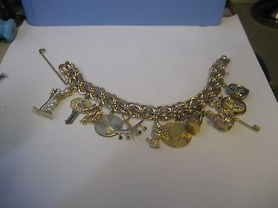 VINTAGE 1960's STYLE 12 K GOLD FILLED CHARM BRACELET/WITH 12 GREAT CHARMS