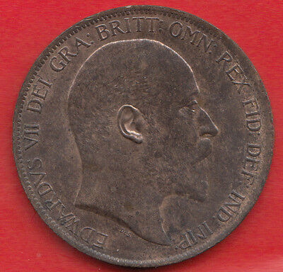 1904 Edward VII PENNY UNC 30%LUST S3990 FREEMAN 159 DIES 1+B A  NICE COIN