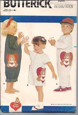 Care Bear  Overalls Sewing  Pattern Sz 3-4