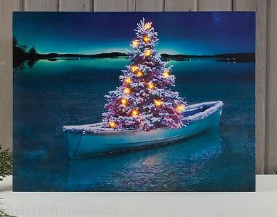 Row Boat w Christmas Tree Lighted Picutre Radiance Canvas ohchrc x46612 NEW