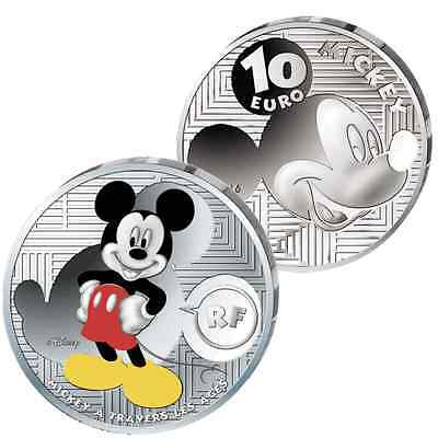 10Euro Frankreich Mickey Mouse 2016 Color Farbe Silber Proof ERSTABSCHLAG