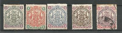 1897 ARMS FIVE RE-ENGRAVED DEFINITIVES MINT AND USED TO 6d REF 119