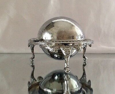 Lovely Vintage Silver Plated Chased Butter/Caviar Dish Downton Style