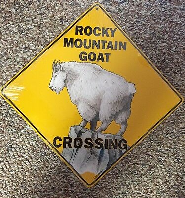 Rocky Mountain Goat Crossing Sign NEW 12X12 Metal