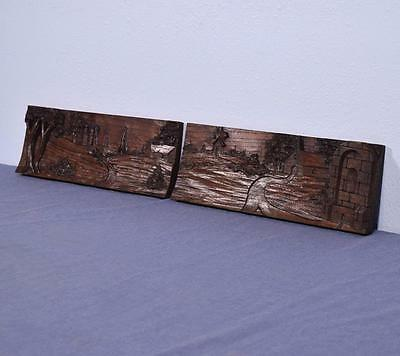 *French Antique Salvage Breton Landscape (Brittany) Panels in Chestnut Wood