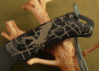 Black Survival Bowie Full Tang Camping Hunting Collection KNIFE Carved Patterns