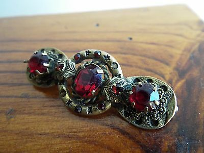 Antique Victorian/Edwardian brass & red ruby glass ornate brooch