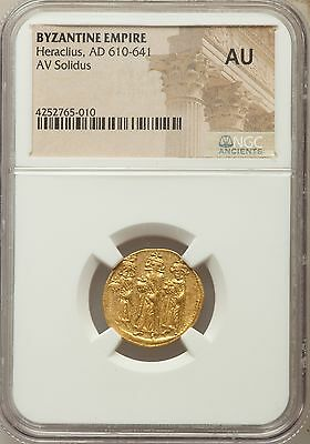Byzantine Empire Heraclius AD 610-641 AV Solidus NGC Ancients AU