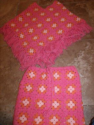 Retro Hand Crochet Granny Square Fringed Poncho AND Matching Skirt PINK