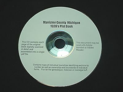 CD ~ 1920's Manistee County Michigan Plat Map Atlas