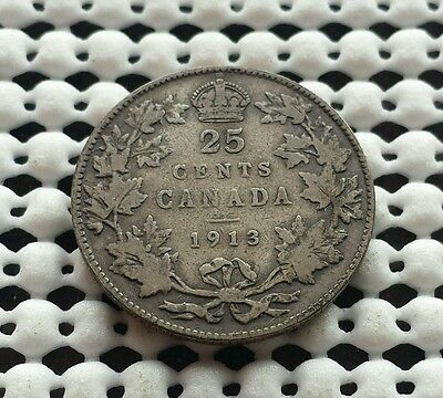 1913 ❀ .925 Sterling silver ❀ Canada Quarter 25 cent King George V Coin
