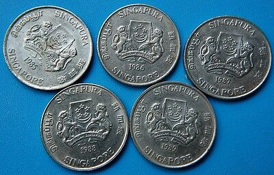 Singapore . Lot 5 coins of 20 cents 1985 1986 1987 1988 1989