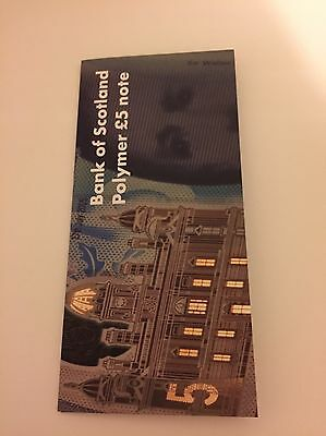 Presentation Pack Bank of Scotland £5 Five Pound Polymer Note AA004290 V Low No