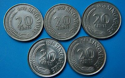 Singapore . Lot 5 coins of 20 cents 1972 1976 1979 1980 1981