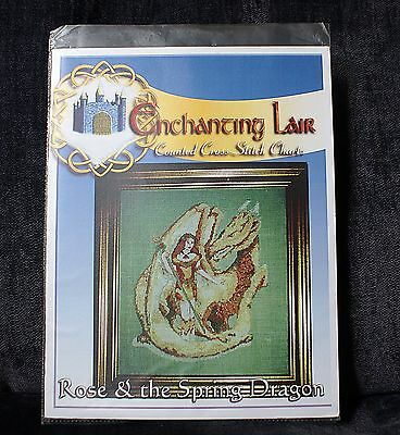 New Enchanting Lair Fairy Counted Cross Stitch Chart Rose & the Spring Dragon