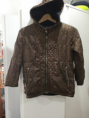 Girls Black & Leopard Print Reversible Jacket From River Island Size 10 Years