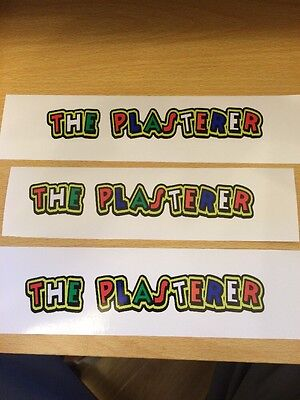 """Valentino Rossi style text - """"THE PLASTERER""""  x3  stickers / decals  - 5in x 1in"""