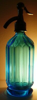 Rare 1906 Facets Sky Blue Small Water Seltzer Bottle Siphon Syphon Flasche Soda