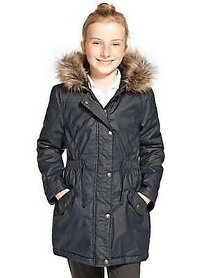 Marks and Spencer Navy Pure Cotton Faux Fur Trim Waxy Parka Age 11/12 Box4451 L