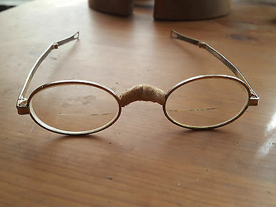 19th C. style spectacles or glasses, brass finish, oval