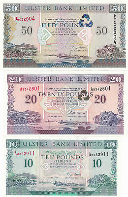ULSTER BANK: £50, £20, £10 (Pick 336a, 337a, 338) UNC