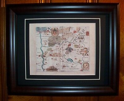 Gad Holy Land Map Gilead Sea of Galilee Judica Reprint Matted & Framed