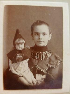 Miniature Old Cabinet Photo on Board c1900 w Red Riding Hood Doll Hooded Cape