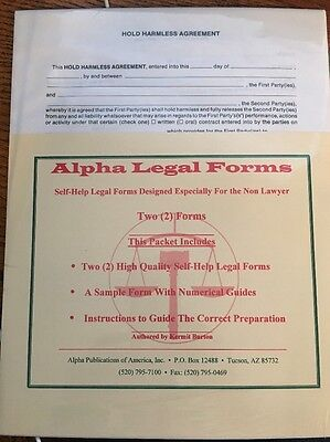 Hold Harmless  Legal Form with Instructions And Sample