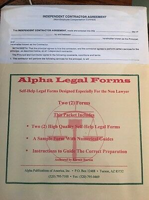 Independent Contractor Agreement  Legal Form with Instructions And Sample