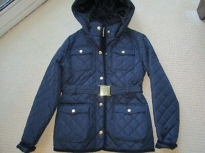 M&s Navy Blue School Quilted Hooded Belted Girls Coat Age 11-12 Years
