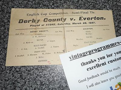 DERBY COUNTY  v  EVERTON 1896/7 F A CUP SEMI - FINAL @ STOKE ~ MARCH 20th