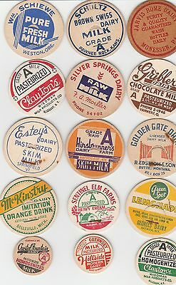 Lot Of 15 Different Milk Bottle Caps. All Named Dairies. #10