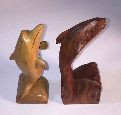 2 Dolphins Wood Carvings Primitive Hand Carved Folk Art