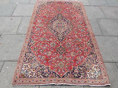 Old Traditional Persian Carpet Wool Red Blue Oriental Hand Made Rug 236x140cm