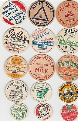 Lot Of 15 Different Milk Bottle Caps. All Named Dairies. #14
