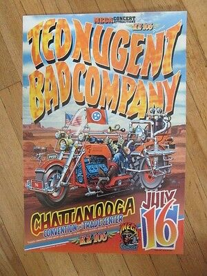 TED NUGENT Bad Company Chattanooga  1996 Poster Jim Phillips