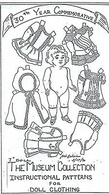 """7""""all-Bisque Doll Wardrobe/clothes Sailor/party Dress&slip/hood Cape Pattern"""