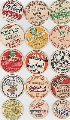 Lot Of 15 Different Milk Bottle Caps. All Named Dairies. #17
