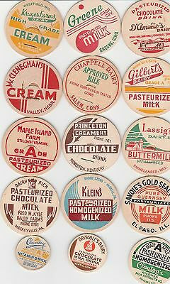 Lot Of 15 Different Milk Bottle Caps. All Named Dairies. #18
