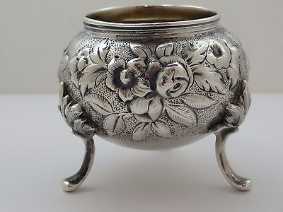 Antique c1846-1861 S. Kirk & Son REPOUSSE Coin Silver Footed Master Salt Cellar