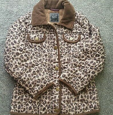 NEXT Girls' Leopard Animal Print Brown Quilted Padded Jacket Coat 7-8 Years