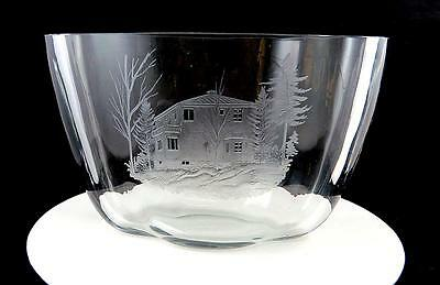 "Fogels Crystal Signed Etched House In Woods Oval Large 9 3/8"" Planter Vase"