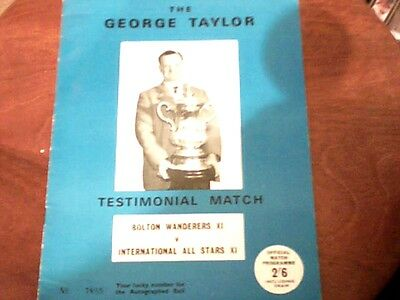 61/62???? Bolton Wanderers V International All Star Xi[Taylor Testimonial]