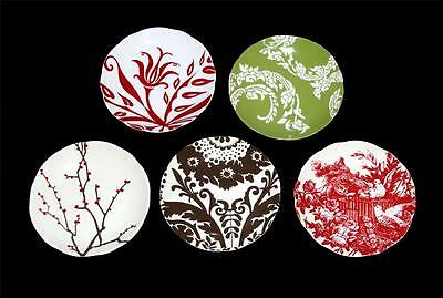 """5 Rosanna Floral Scroll Birds Branches Brown Red Green 8-1/4"""" Scalloped Plates"""