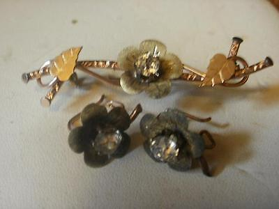 Victorian Era Paste Gold Filled Pin and Earring Set