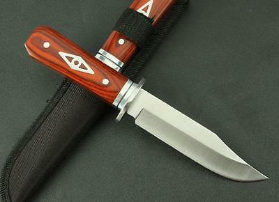 "8"" Little  Full Tang Wood Handle Outdoor Camping Fishing Knife Fixed Blade 306C"
